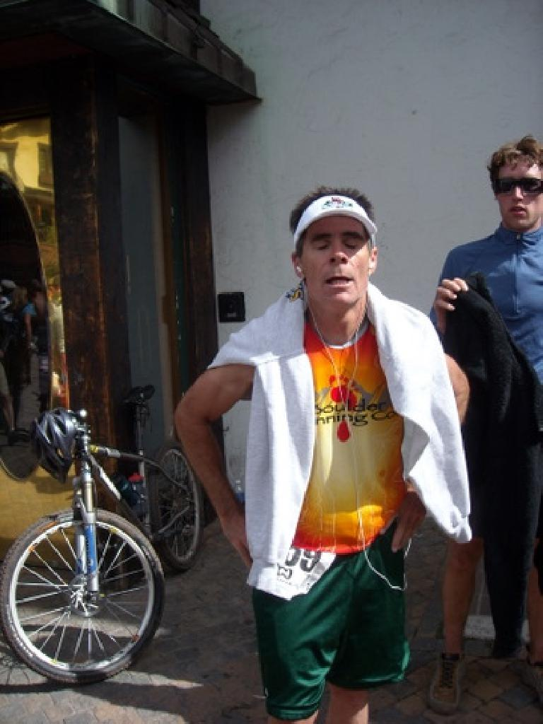 At the end, Eddie sure looked like he had just done the toughest 10k race in the nation! (June 7, 2009)