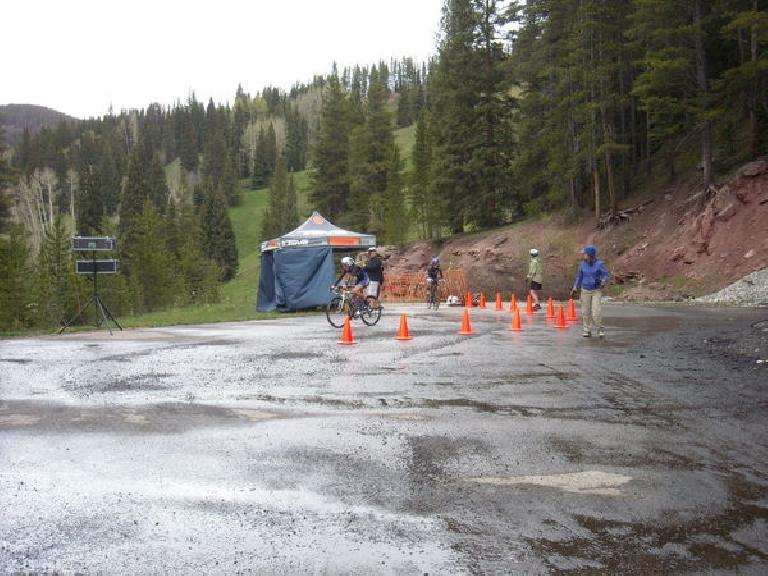 The top of the Vail Pass Climb.  Getting off-course and losing 3 minutes cost him 2nd place, but still finished 6th. (June 7, 2009)