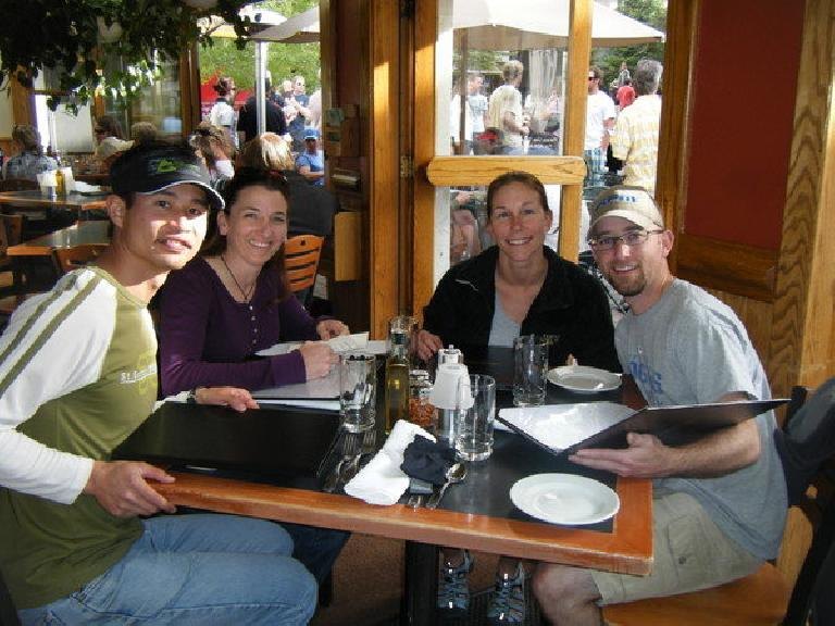 Eating out in Vail Village after Saturday's Teva Mountain Games. This photo was taken shortly before we'd wander around for ONE HOUR looking for dessert. Photo: Eddie Metro.