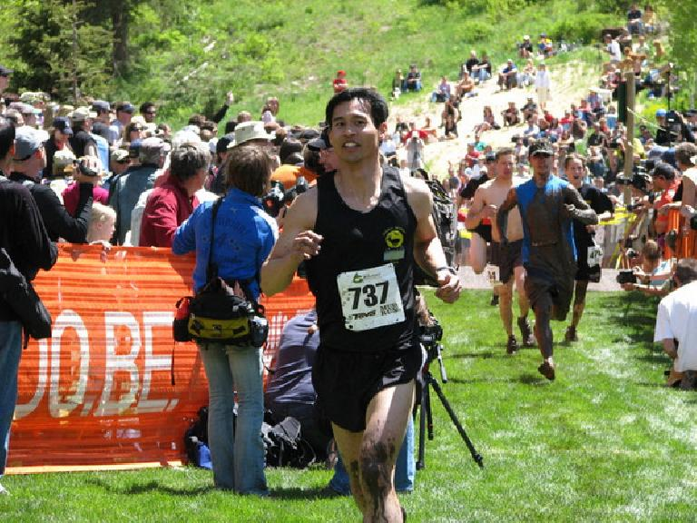 Felix Wong on Lap 1 of the Mud Run -- was in 8th place at this point and not too muddy. Photo: Tori.