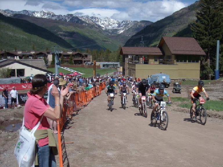 Racers take off in the very hilly X-Country MTB race.