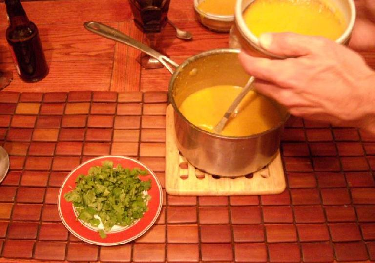 Nick made this excellent butternut squash soup.  Delish!