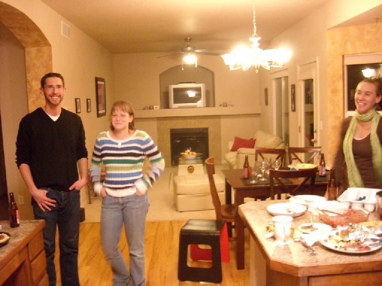 Jon, Ryan and Rhea in the kitchen.