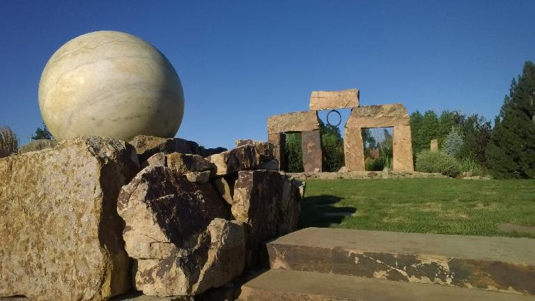 Sphere and Stonehenge-like rocks at The Rock Garden.