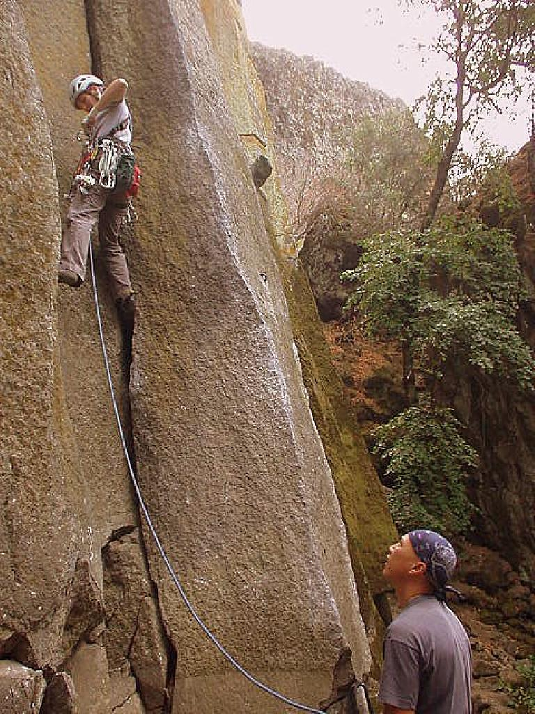 Tori leads a 5.9 chimney climb while Chris belays.
