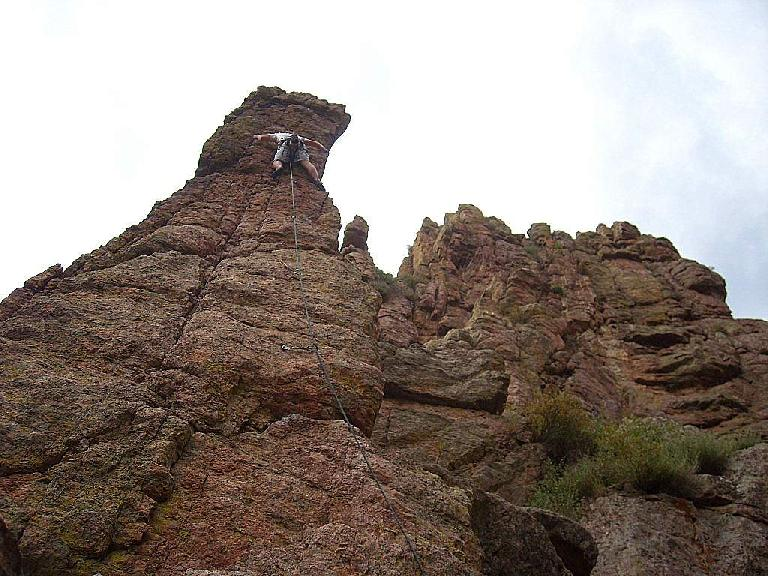 Derek almost at the top of The Scepter.