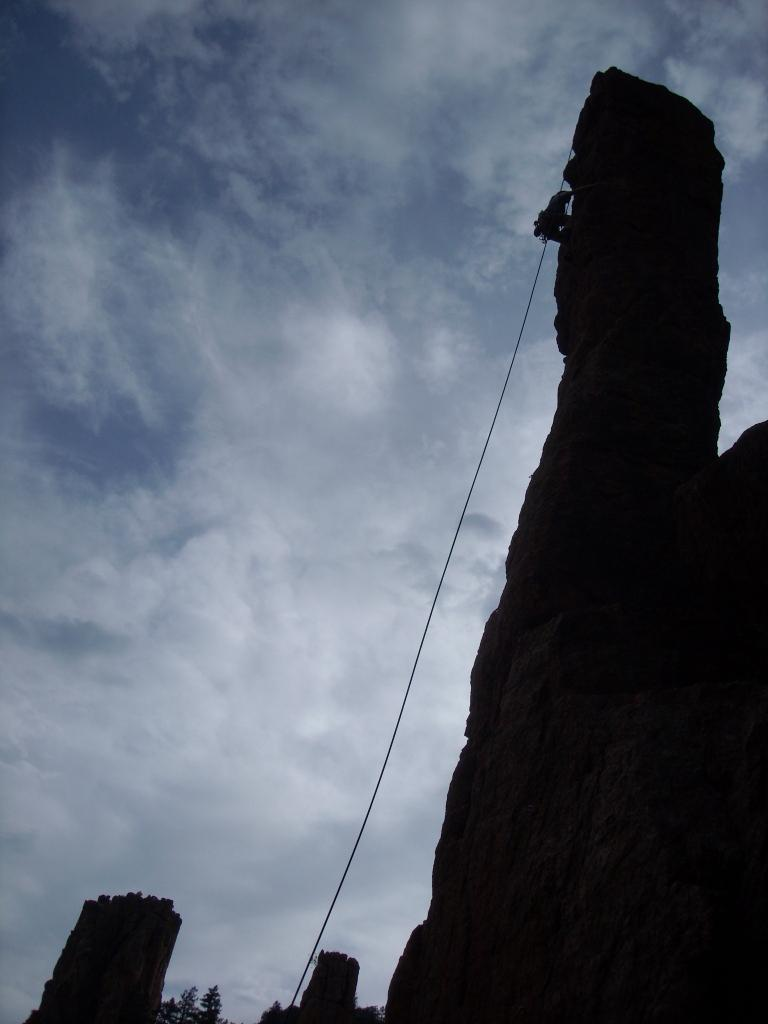 Tori about to reach the top of 75-foot-tall The Scepter.