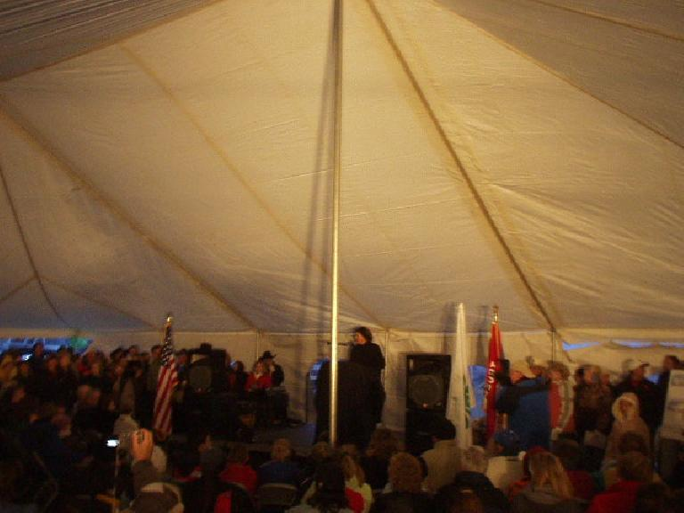 Speeches were given quickly since it was quite cold (maybe 20 degrees F) outside.