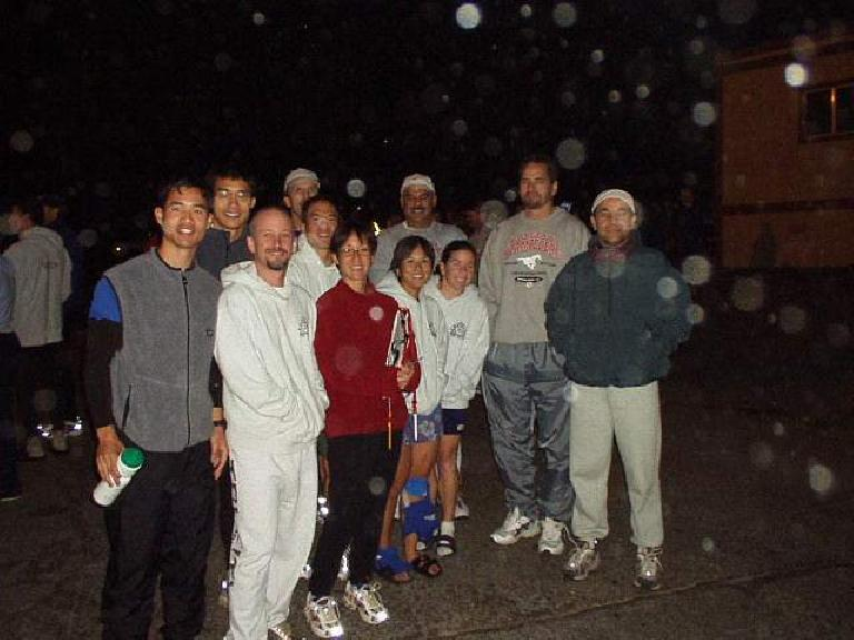 3:39 a.m.: Mile 105: Our whole group (minus Al who was on the course after taking a handoff from Steve) at the Van Exchange point in SF near the GG bridge.