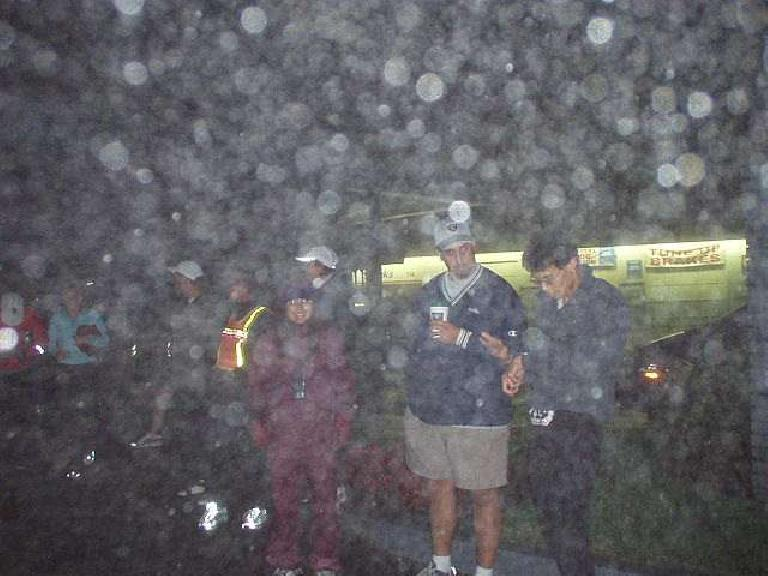 5:17 a.m.: Mile 118: Ok, bad picture--it was a wet, foggy and cold morning in Pacifica.  But I include this picture here because it shows Janette, our great organizer, and Randy, Van #2's awesome driver.