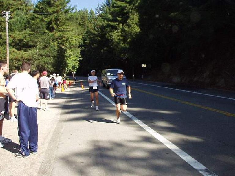 12:39pm, Mile 171: Al completes the handoff to Manuel after his 6.2-mile leg, which he ran at an incredible sub-6-minute-mile pace!