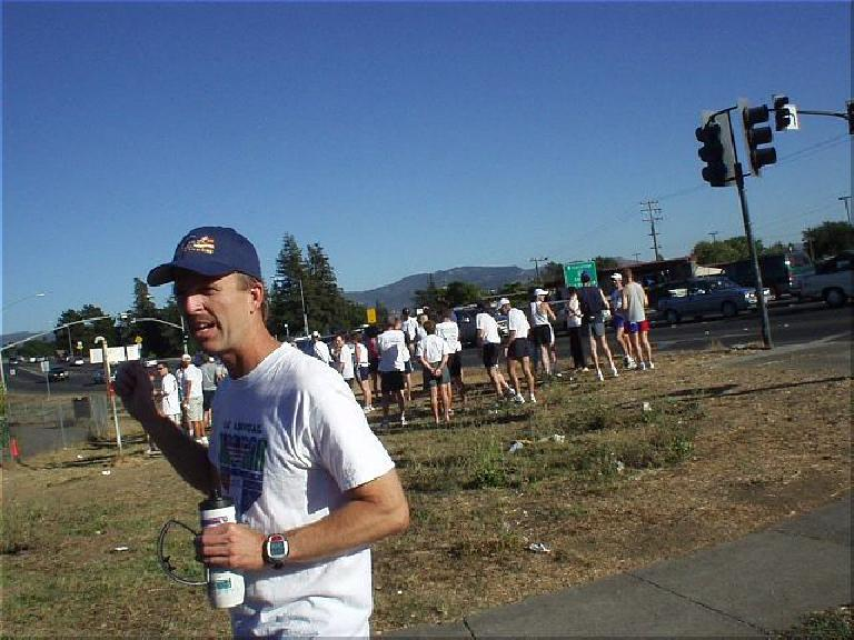 [Mile 30.5, 3:56 elasped, 4:26 p.m.] Mile 30.5 marked the first van exchange at a church.  Here's Steve.