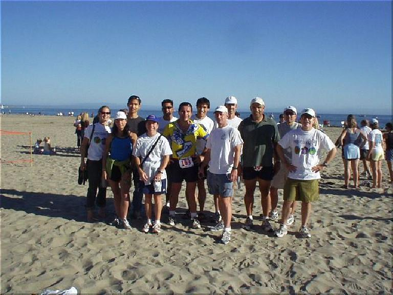 [Mile 199, 27:58 elasped, 4:28 p.m.] Mission accomplished!  Our entire group after a journey of fun: Heidi, Lisa, Felix, Sharon, Mike, Manuel, Everitt, Tom, Steve, Herb, Al, and Phil. (October 12, 2003)