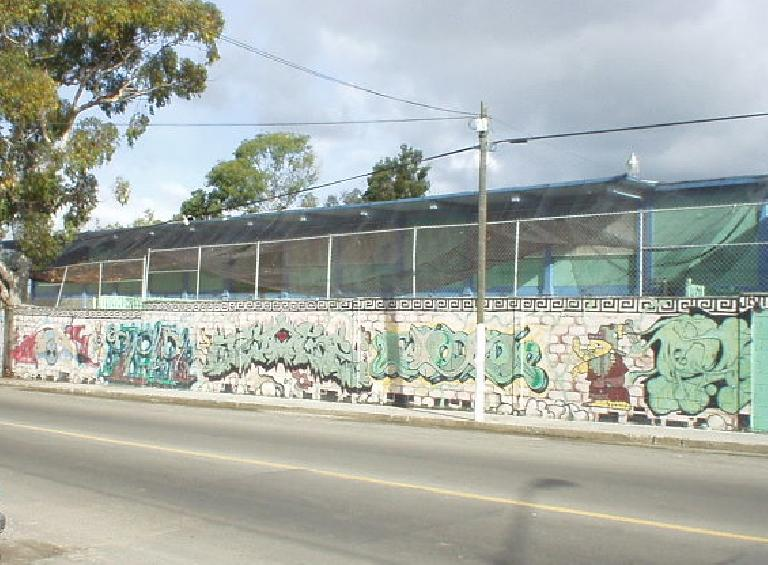 Here's why: the rest of them, like this wall, all had graffiti on them.  Okay, maybe not all, but it seemed that way.  It makes my childhood home town of Stockton look even relatively clean...