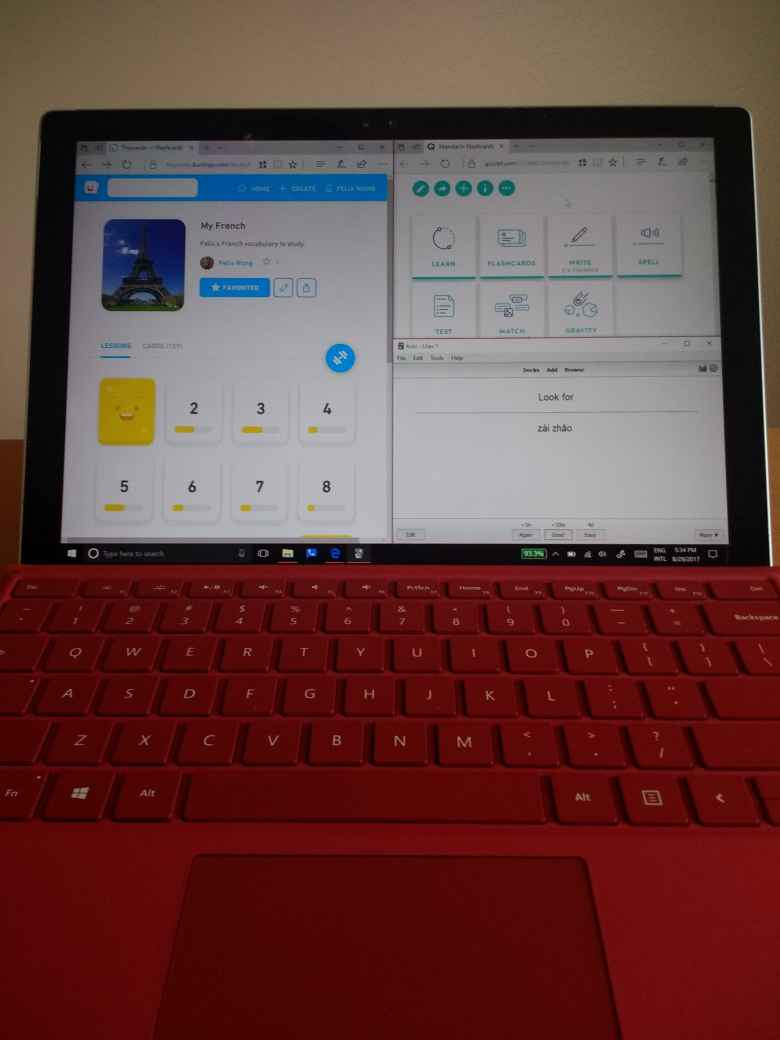 Tinycards, Quizlet, Anki on red Surface Pro 4