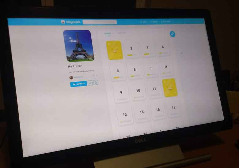 Tinycards by Duolingo on a Dell monitor.