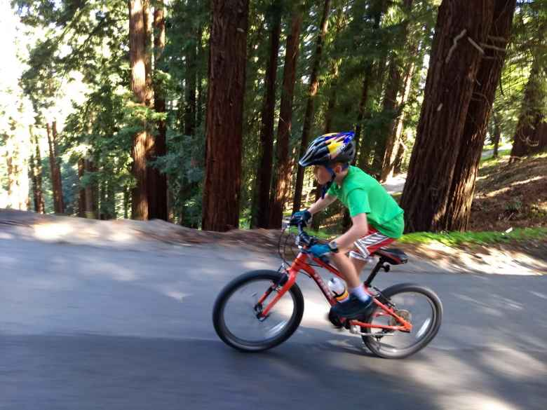 Tom Simon, red Trek mountain bike, Old La Honda Rd.