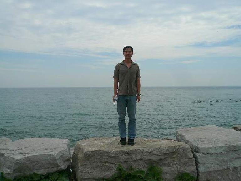 Felix Wong in front of Lake Ontario. Photo: Stephen.