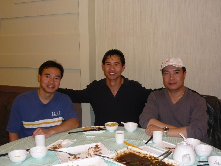 Felix Wong with cousins Tilden and Hans at Dragon Boat Fusion Cuisine in Richmond Hill, Ontario. Photo: Moira Chan. (May 22, 2008)