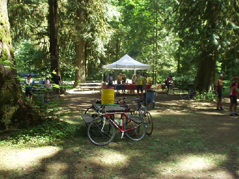 [Mile 65, 11:48 a.m.] The rest stops were stocked with mellons, bananas, strawberries, bagels, and some great hazelnut butter.
