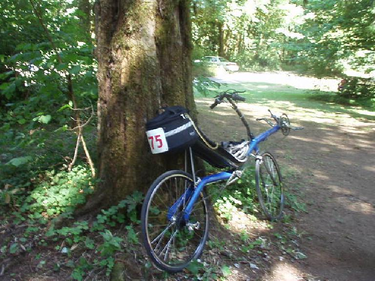 """[Mile 79, 1:01 p.m.] The recumbent that was climbing so impressively.  According to its owner it weighed just 23 lbs. and had """"rotor cranks"""" with a low gear with a 1:1 ratio (front chainring : large rear cog)."""