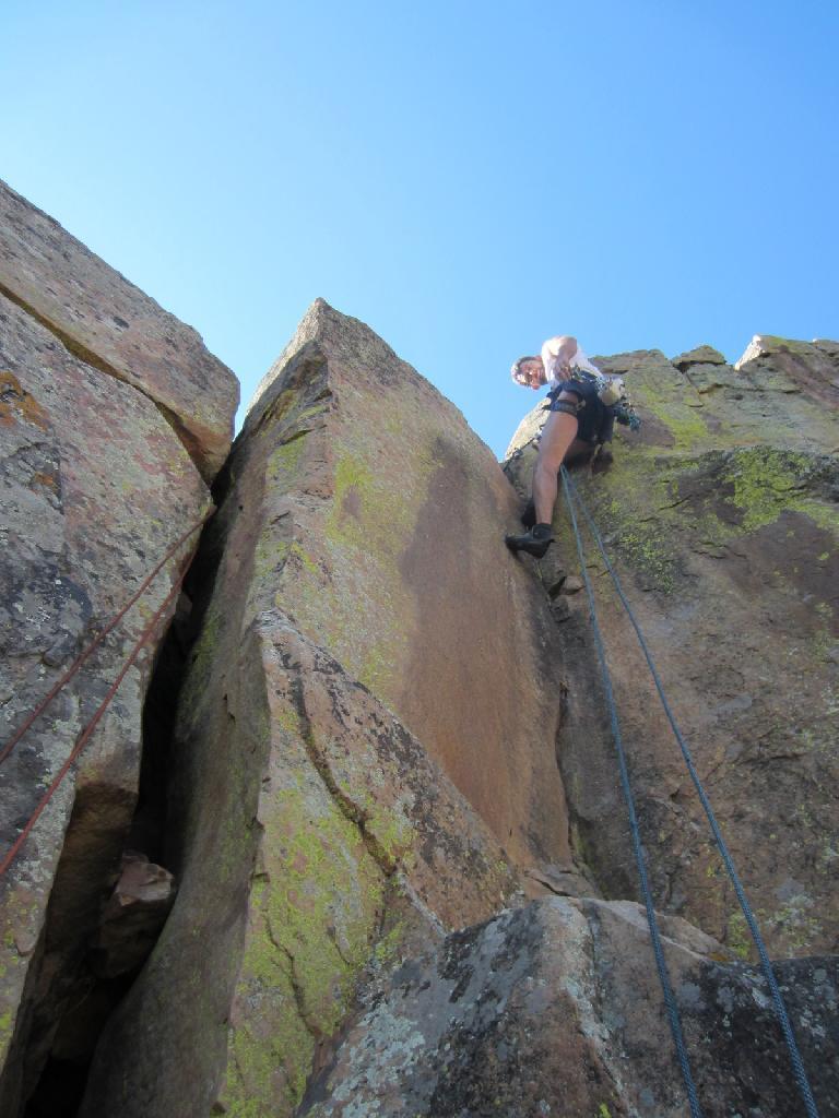 Raphael self-belaying himself up a crack climb. (September 9, 2012)
