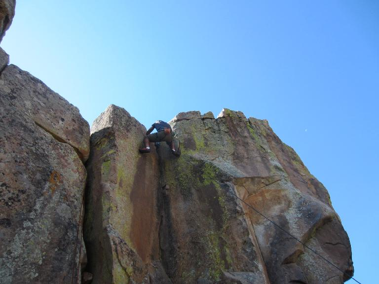 Mehdi at the top of the crack climb. He did it better than I. (September 9, 2012)