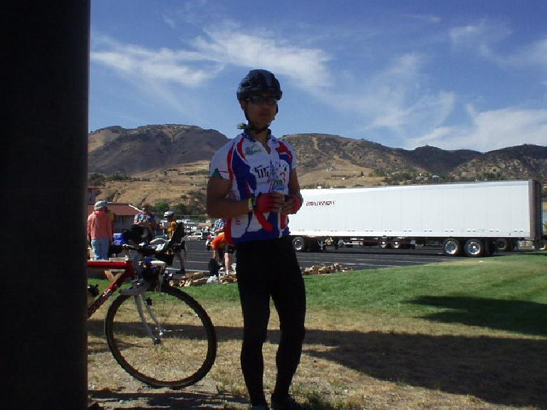 [Mile 120, 3:01 p.m.]  An obligatory photo of myself, this time sporting a Paris-Brest-Paris jersey.