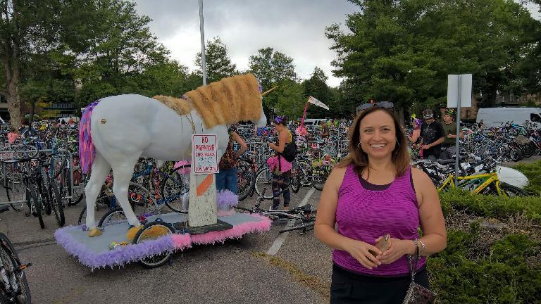 Raquel and a unicorn.