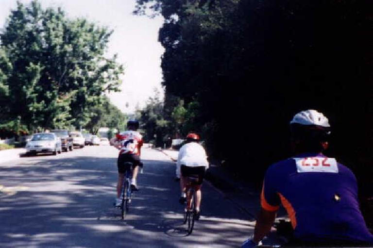 three Stanford cyclists, Saratoga, 1998 Tour du Jour