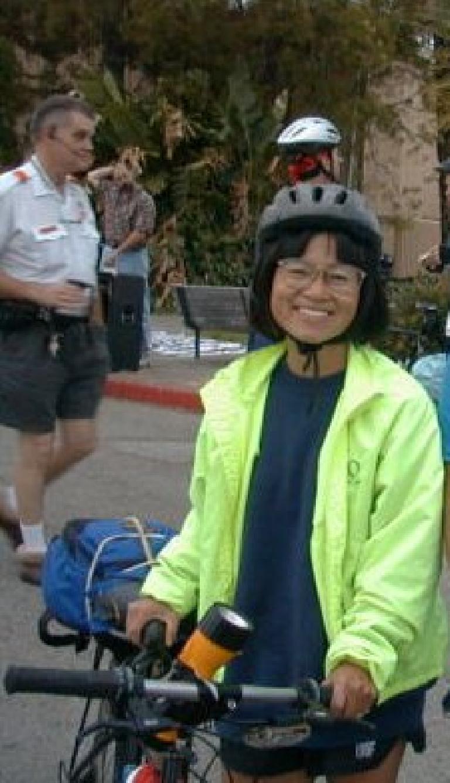 Stacey Li Collver, fluorescent green jacket, 1999 Tour du Jour
