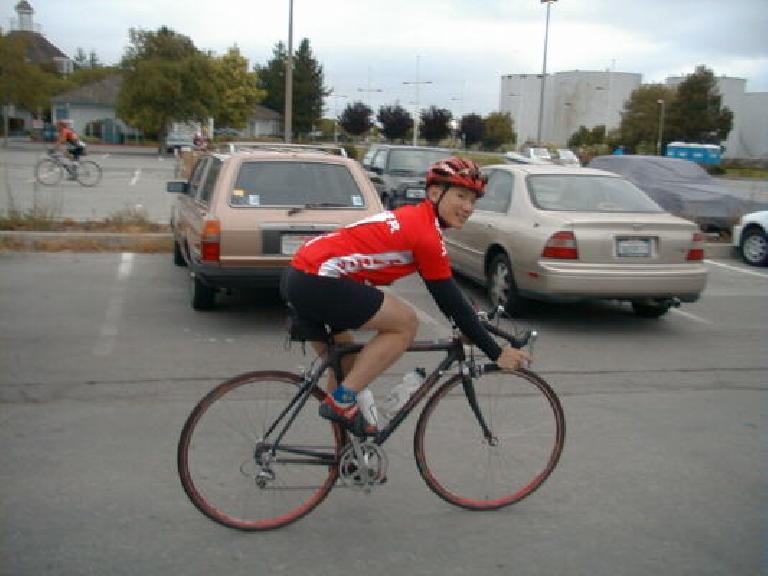 Adam Tow, red cycling jersey, carbon-fiber Trek OCLV, 1999 Tour du Jour