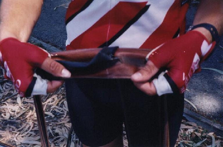Daniel Lieb suffered a big gash in his tire during the 2000 Tour du Jour.