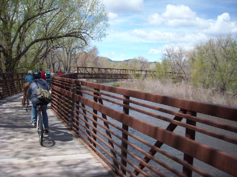 Cruising over a bridge above the Poudre River to the Laporte Old Feed Store.
