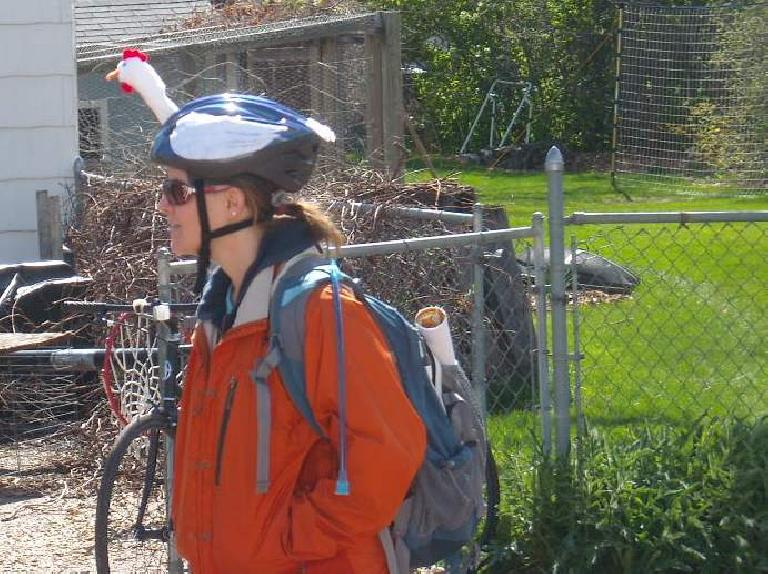 I liked this woman's chicken helmet.