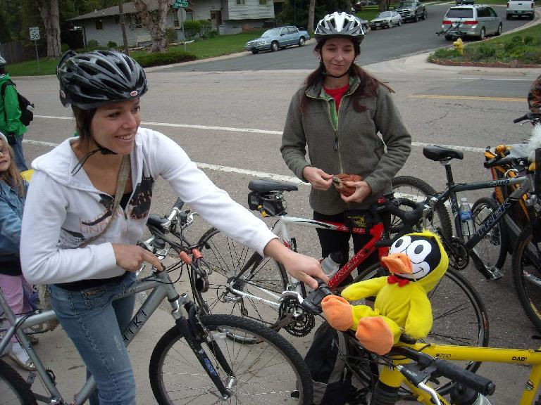 Leah and Tori with Felix Wong the Cat... er, chicken.