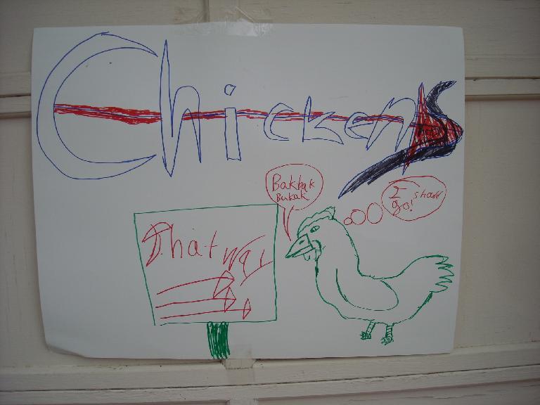 """""""Chicken that way"""" sign."""