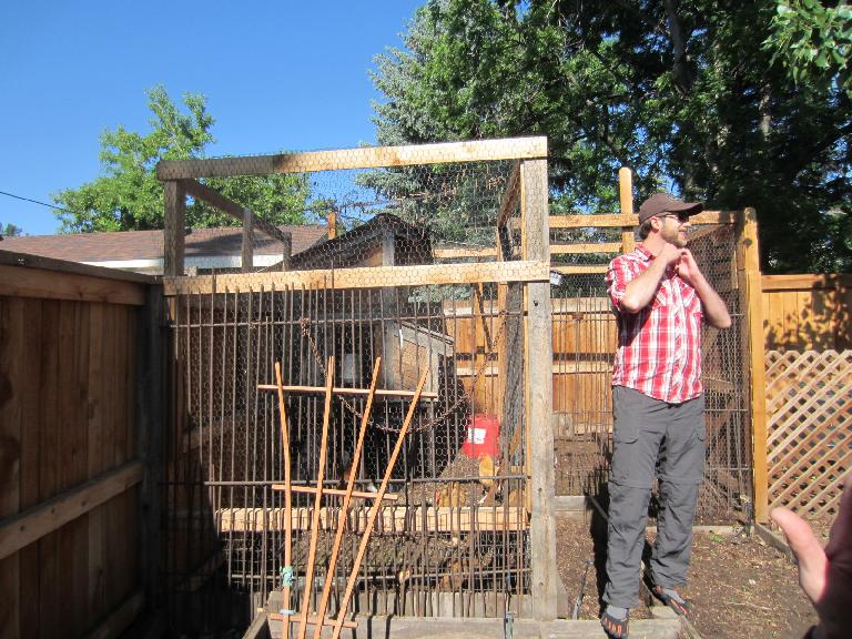 This chicken coop actually crossed property lines so that the neighbors could enter it when the owner was away.