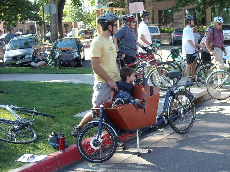 A cargo/child-carrying bicycle available for loan by the Fort Collins Bicycle Library.