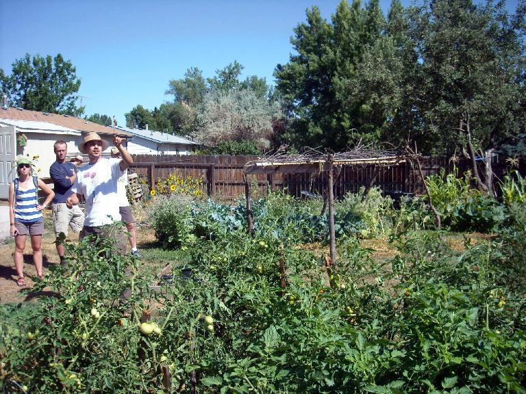 Sunshine Giving Garden at the home of Claudia and Sebastian, members of the Growing Project.