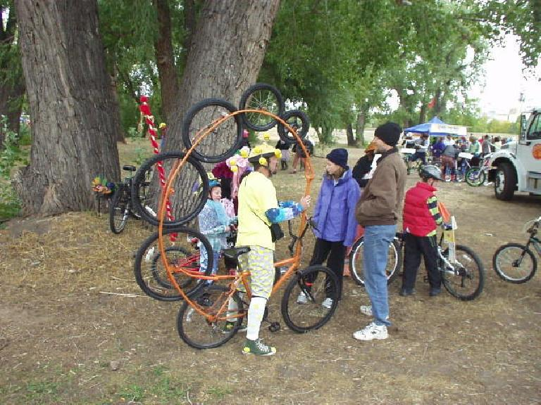 The Tour de Fat in Fort Collins was more like a parade than a tour.  Here's a bicycle with a lot of wheels.