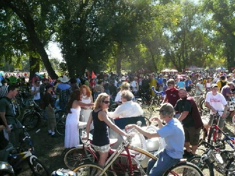"Gathering at ""the Mothership"" (New Belgium) before commencing the parade through downtown Fort Collins."