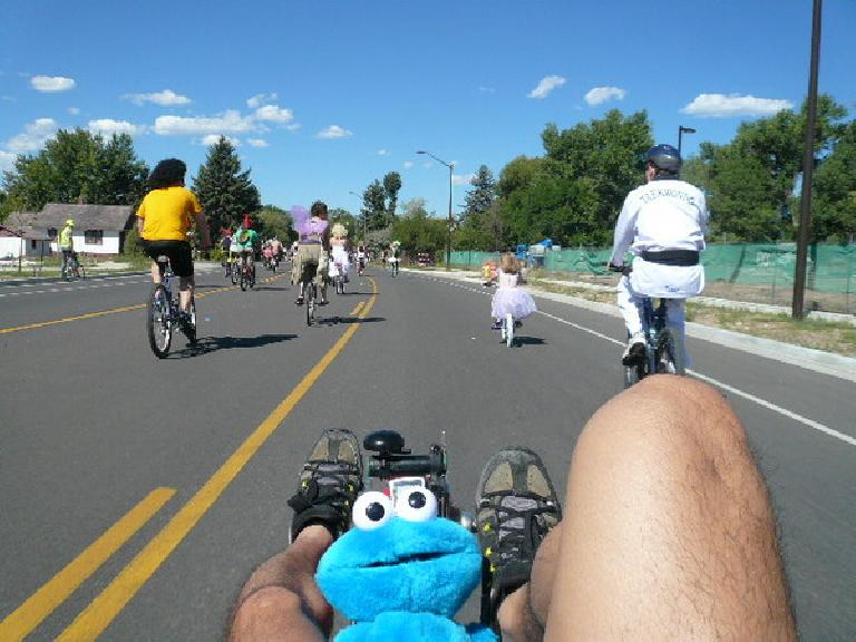 Riding behind Leah, Faith and Tim on my Cookie Monster machine in the Tour de Fat.