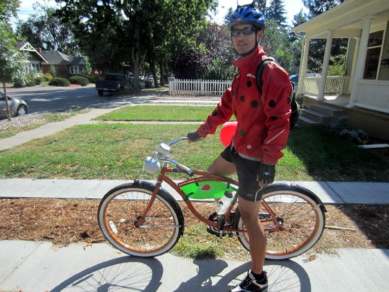 My ladybug costume was rather warm since my cycling jacket was the only red top I owned.