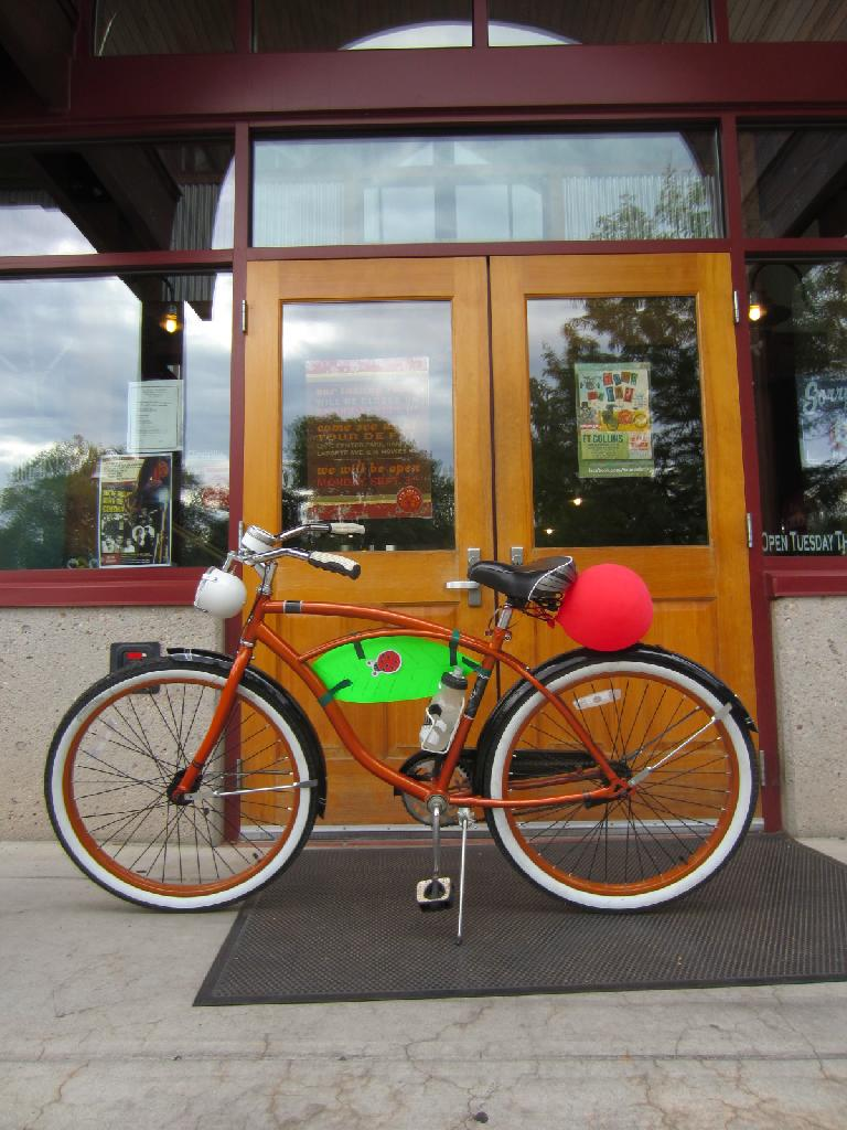 The Huffster in front of New Belgium, which was closed today due to hosting the event.