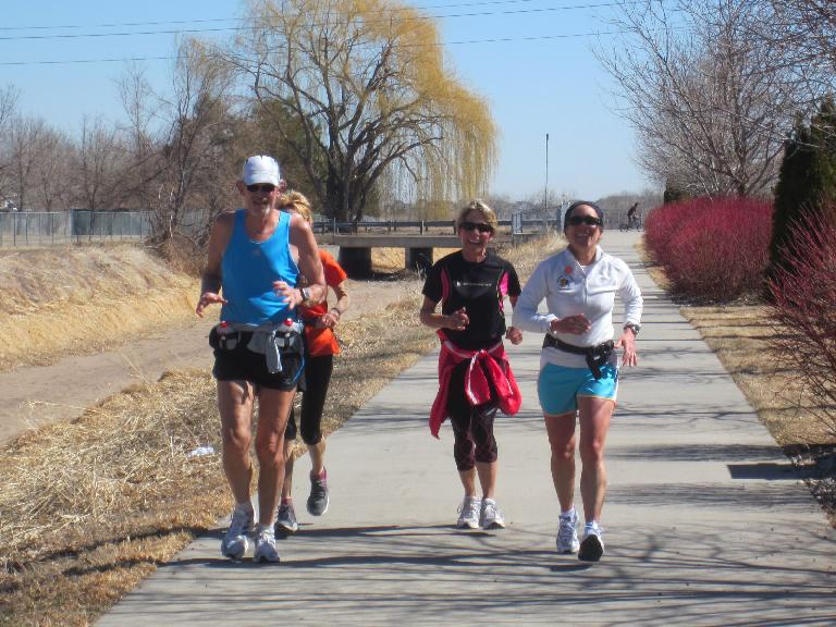 Right on time: Tom, Ginger, Cathy and Alene less than a mile away from Walmart #2.