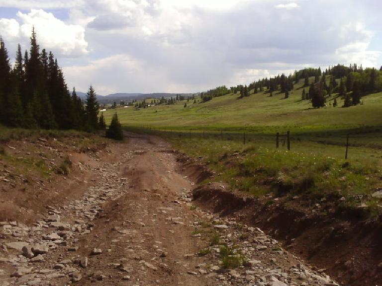 Day 22: Extremely rocky and rutted trails through northern New Mexico on the 4th of July after resolving the cyclometer crisis. (July 4, 2008)