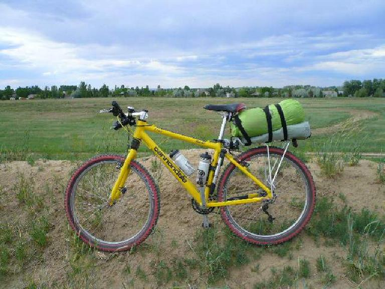 Cranky all loaded up for the Tour Divide, weighing 40.2 lbs. with two full water bottles and 37.6 without.  I will also have about 10 lbs. on my back (including 4.4 lbs. of water).