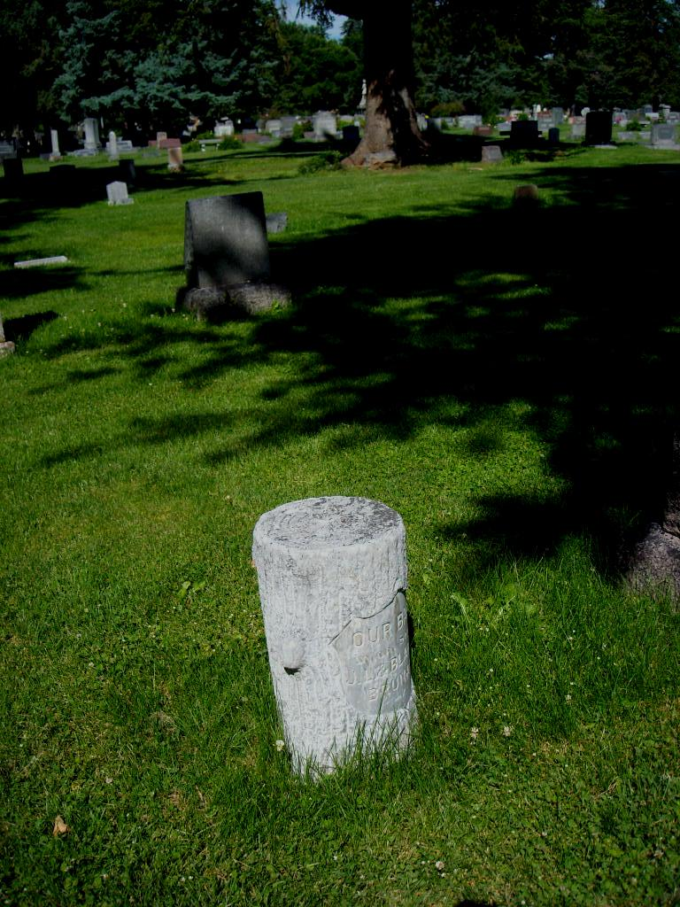 A tombstone in the Grandview Cemetery made from a tree stump.