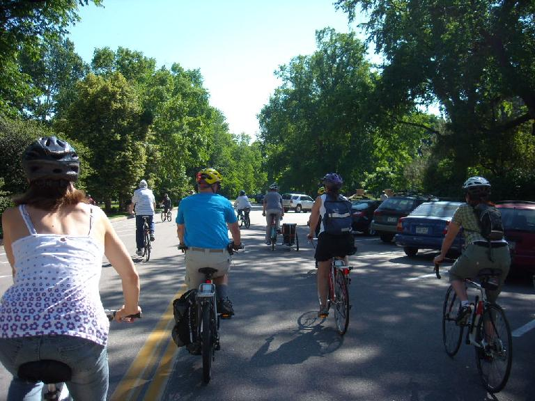 Starting out the Bike Tour of Champion Trees in Fort Collins' City Park.  Leah is on the left and Tori is on the right.
